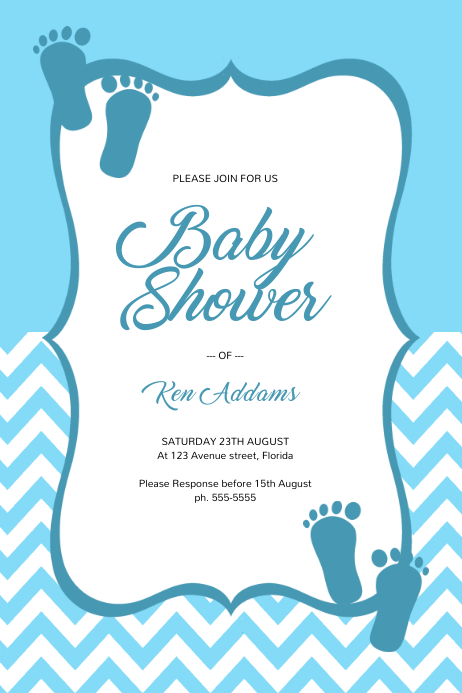 Blue Boy Baby Shower Invitation Template Póster