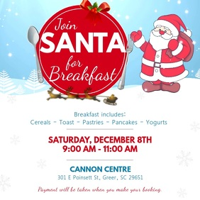 Blue Breakfast with Santa Invitation Square V