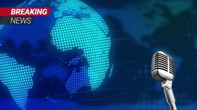 Blue Breaking News Zoom Background Video Digital Display (16:9) template