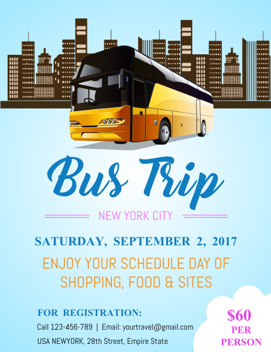 Blue Bus Trip Flyer Template  Postermywall