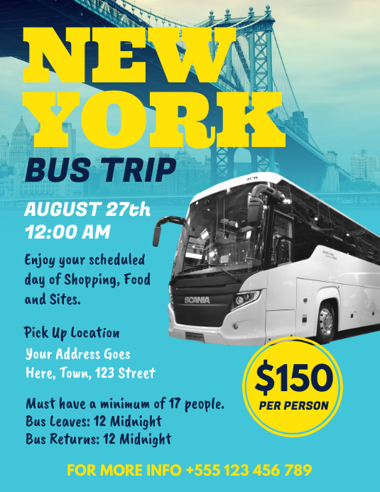 Customizable design templates for bus trip postermywall blue bus trip to new york flyer template pronofoot35fo Choice Image