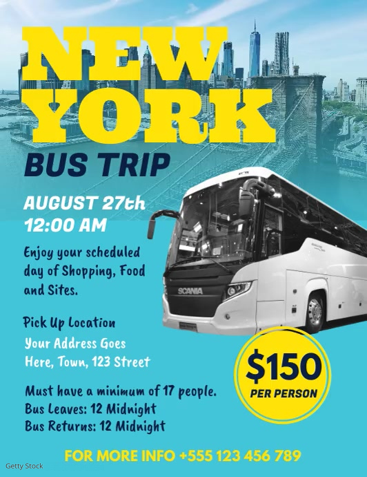 Blue bus trip to NY flyer Template