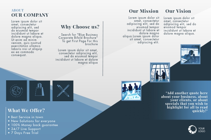 Blue Business Corporate Bifold Brochure โปสเตอร์ template
