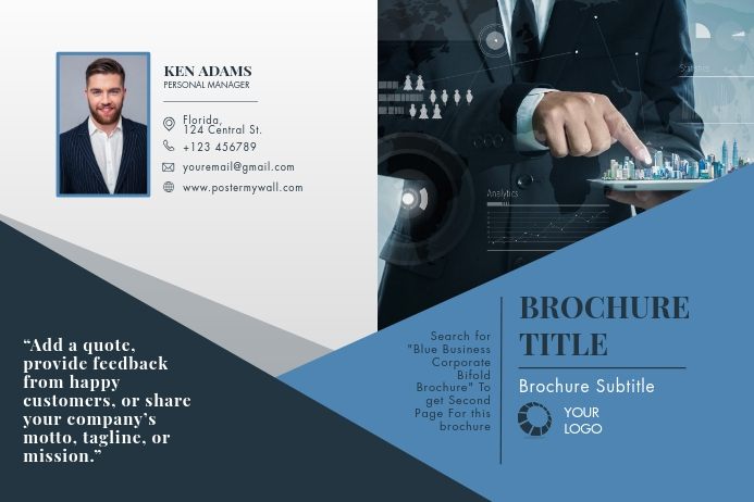 Blue Business Corporate Bifold Brochure Poster template