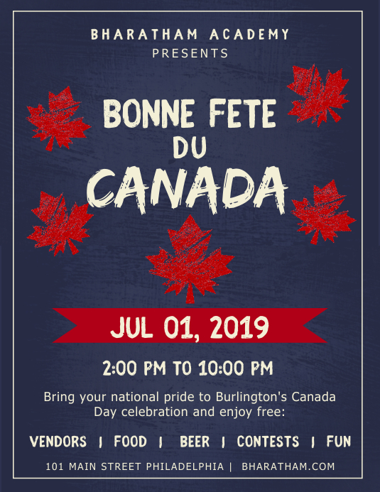 Blue Canada Day Event Flyer Folheto (US Letter) template