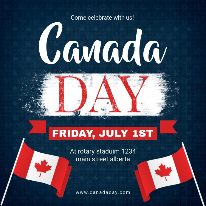 Blue Canada Day Instagram Ad template