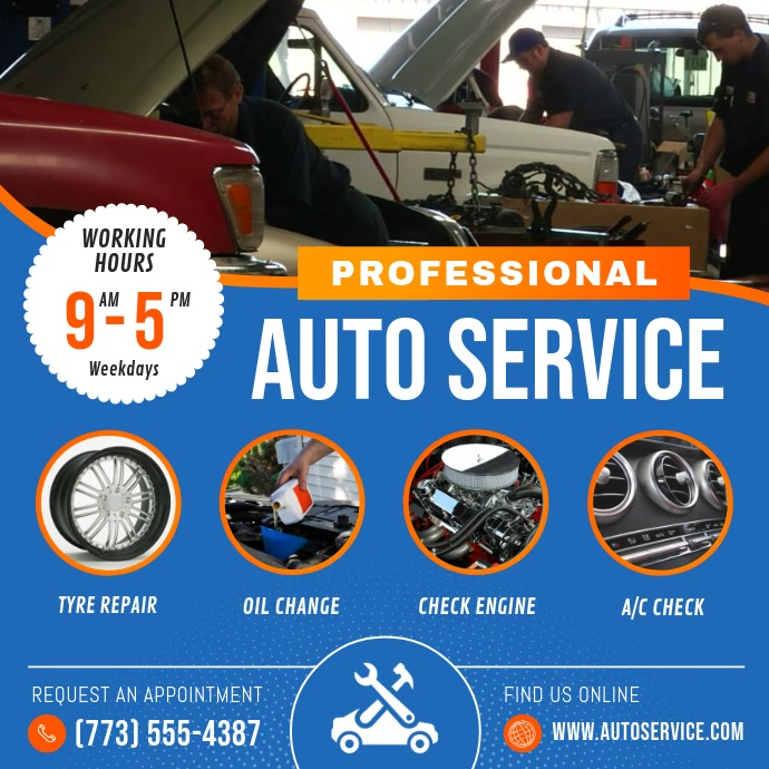Blue Car Autoservice Business Ad Square Video