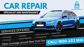 Blue Car Mechanic Service Digital Ad