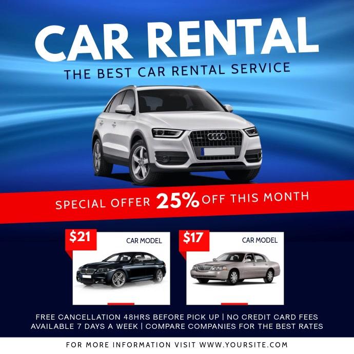 Blue Car Rental Ad Square Vide template