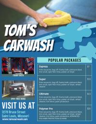 Blue Car Wash Price List Templates
