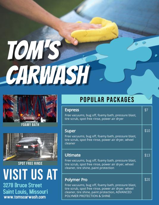 Copy Of Blue Car Wash Price List Templates