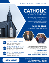 Blue Catholic Church Schedule Flyer Template Ulotka (US Letter)