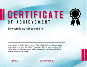 Blue Certificate of Achievement Template