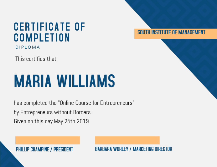 Blue Certificate Of Completion Design Template