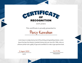 Blue Certificate Of Recognition Design Template