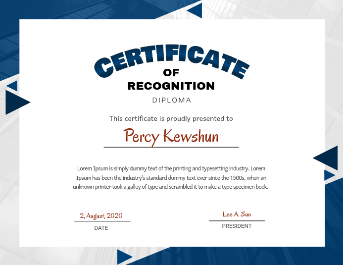 copy of blue certificate of recognition design template