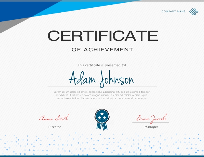 Blue Certificate Template Postermywall