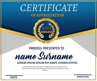 Blue Certificate Template Medium Rectangle