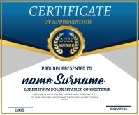 Blue Certificate Template Retângulo médio