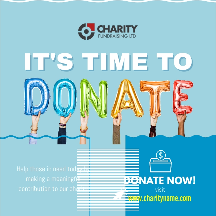 Blue Charity Fundraising Donation Drive Instagram Post template