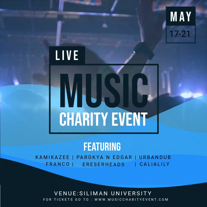 Blue Charity Music Concert Square Ad