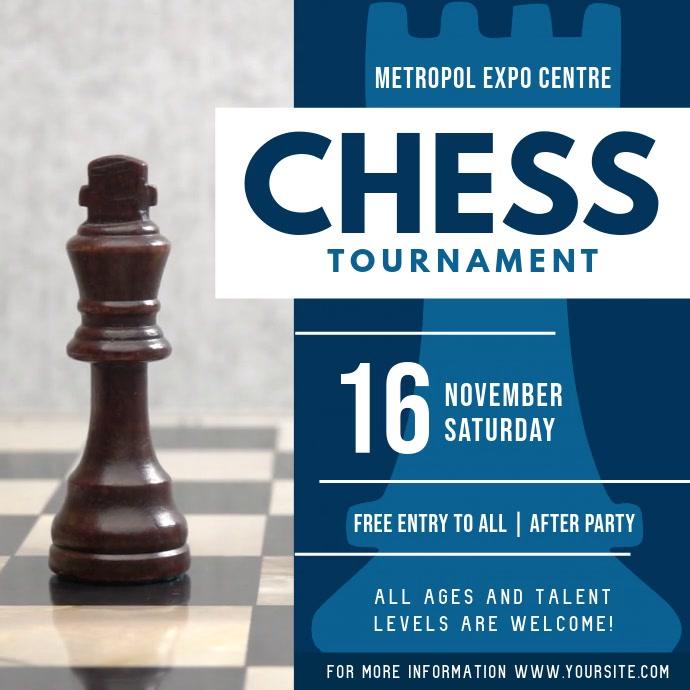 Blue Chess Tournament Square Video Cuadrado (1:1) template