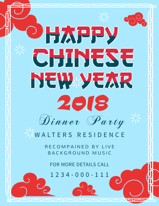 Blue Chinese New Year Invitation Flyer Template Løbeseddel (US Letter)