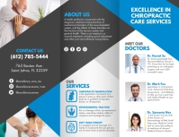 Blue Chiropractic Service Tri-fold Brochure T Pamflet (Letter AS) template