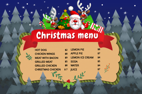Blue Chrismtas Menu Poster