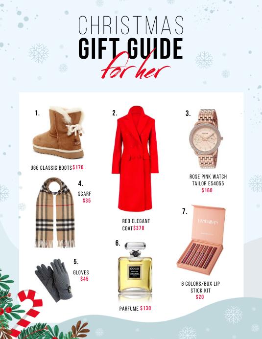 Blue Christmas Gift Guide Flyer Iflaya (Incwadi ye-US) template