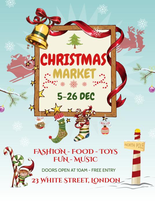 Blue Christmas Market Flyer Pamflet (Letter AS) template