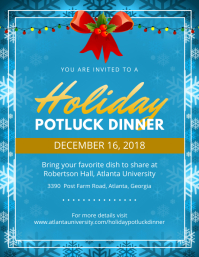 Blue Christmas Potluck Party Flyer