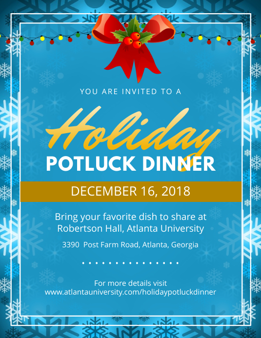 Blue Christmas Potluck Party Flyer Pamflet (Letter AS) template