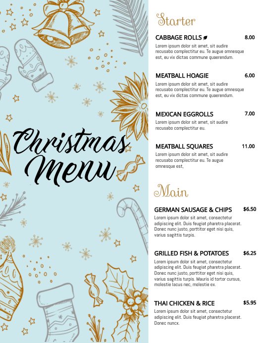 Blue Christmas Winter Menu