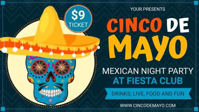Blue Cinco de Mayo Party Invite Facebook-covervideo (16:9) template
