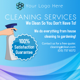 Blue Cleaning Service Instagram Post Template