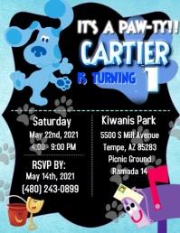 Blue Clues Invitation Flyer (US Letter) template