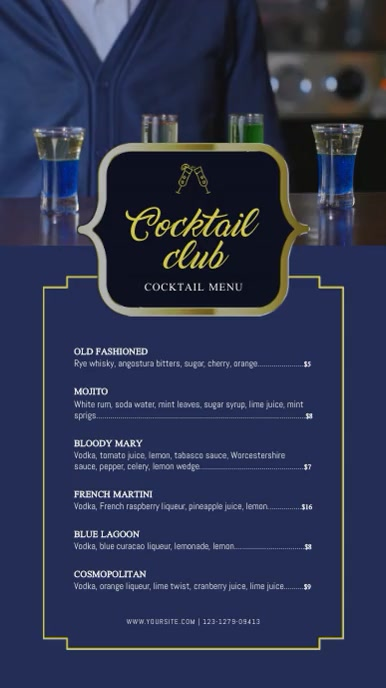 Blue Cocktail Club Menu Digital Display Video
