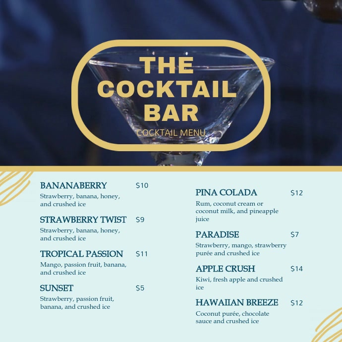 Blue Cocktail Menu Square Video