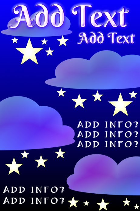 blue colored clouds and yellow stars template postermywall