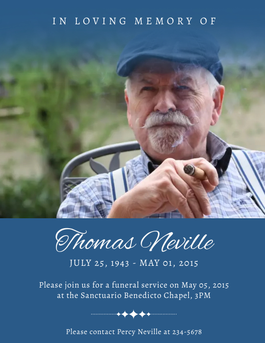 Blue colored obituary flyer template Pamflet (VSA Brief)