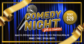 Blue Comedy Night Facebook Event Banner template