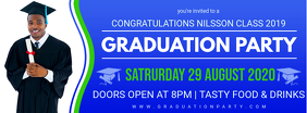 Blue Commencement Party Invitation Banner Zdjęcie w tle na Facebooka template