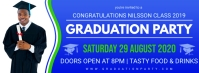 Blue Commencement Party Invitation Banner Portada de Facebook template