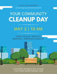 Blue Community Cleanup Event Flyer