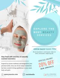Blue Cosmetology Flyer Pamflet (Letter AS) template