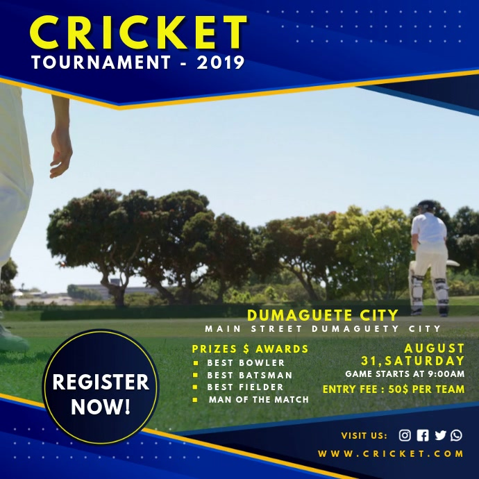 Invitation For Corporate Cricket Tournament: Blue Cricket Game Invite Video Template