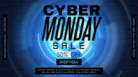Blue Cyber Monday Digital Display Video