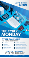 Blue Cyber Monday Electronics Banner ป้ายโรลอัป 3' × 6' template