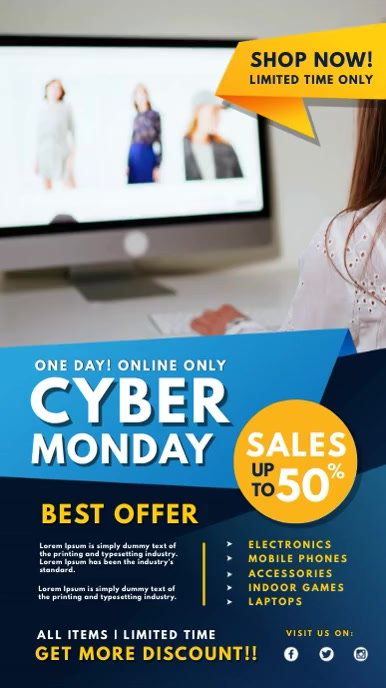 Blue Cyber Monday Online Shop Digital Display